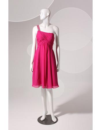 One Shoulder Knee Length Chiffon Homecoming Dresses
