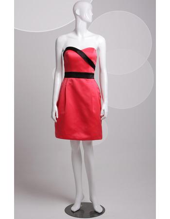 Custom Column Sweetheart Sleeveless Short Satin Homecoming Dresses