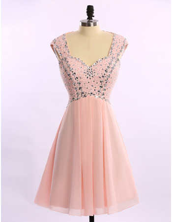 Affordable Sleeveless Short Chiffon Rhinestone Homecoming Dresses