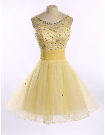A-Line Round Short Satin Tulle Homecoming Dresses