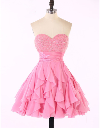 Beautiful Beading Embellished Sweetheart Chiffon Homecoming Dresses with Ruffles Galore Skirt