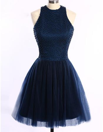 Custom Sleeveless Short Satin Tulle Beading Homecoming Dresses