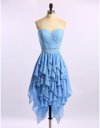 Sexy Sweetheart High-Low Chiffon Beading Ruffle Homecoming Dresses