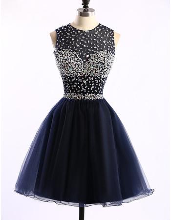 Custom Ball Gown Sleeveless Short Satin Rhinestone Homecoming Dresses