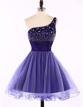 A-Line One Shoulder Short Tulle Homecoming Dresses