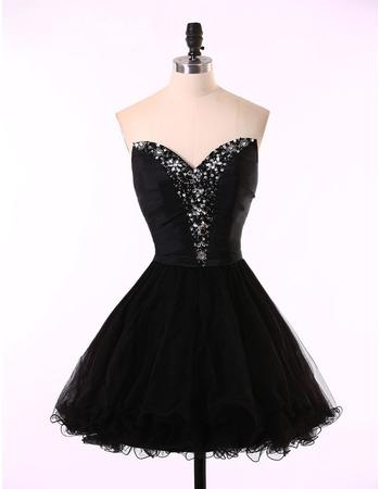 Custom A-Line Sweetheart Short Satin Tulle Black Homecoming Dresses