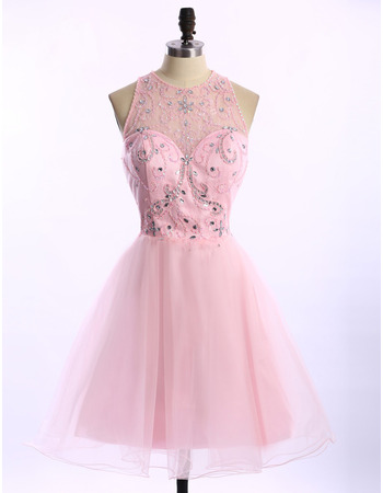 Perfect A-Line Crew Neck Sleeveless Short Organza Homecoming Dresses/ Dramatic Open Back Prom Party Dresses