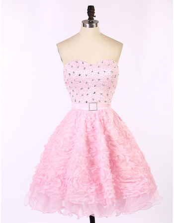 Sweetheart Short Ruffle Skirt Beading Homecoming Dresses