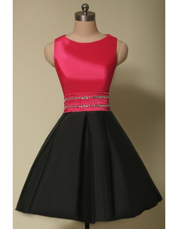 Discount A-Line Sleeveless Short Satin Red & Black Homecoming Dresses