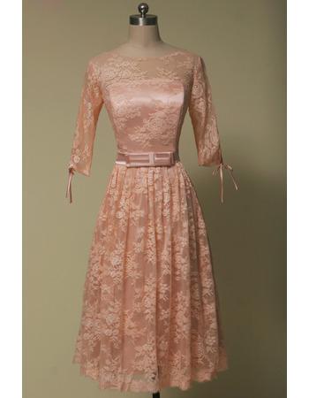 Custom Tea Length Lace Wedding Dresses with Half Sleeves