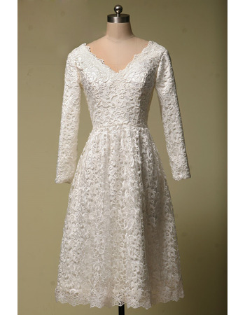 Inexpensive V-Neck Tea Length Lace Homecoming Dress with Long Sleeves