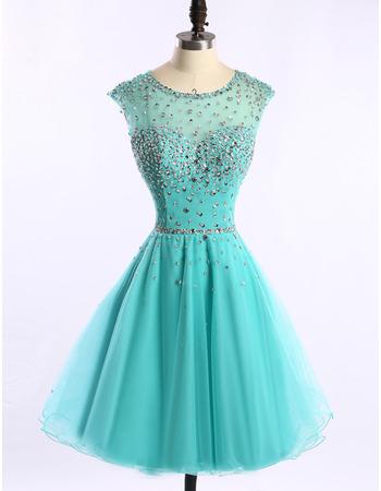 Affordable A-Line Short Satin Organza Rhinestone Homecoming Dresses