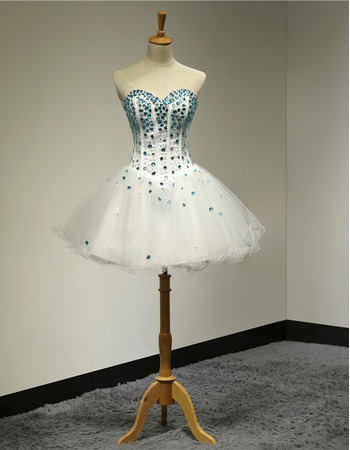 Glitter Crystal Beading Embellished Ball Gown Sweetheart Short Tulle Homecoming Party Dresses