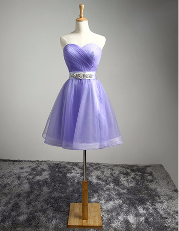 Discount Sweetheart Short Organza Lace-Up Homecoming Dresses