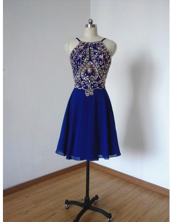 Custom Spaghetti Straps Short Chiffon Rhinestone Homecoming Dresses