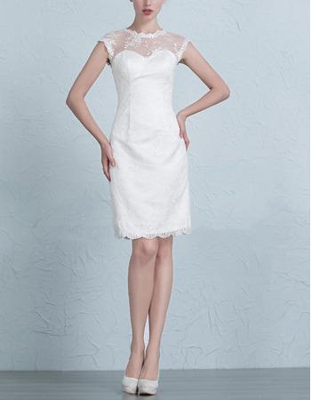 Custom Sheath Crew Neck Short Lace Wedding Dresses with Slight Cap Sleeves