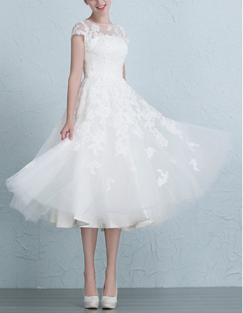 Affordable Floral Applique Tea Length Tulle Wedding Dresses with Slight Cap Sleeves