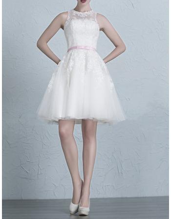 Inexpensive A-Line Crew Neck Appliques Tulle Short Wedding Dresses