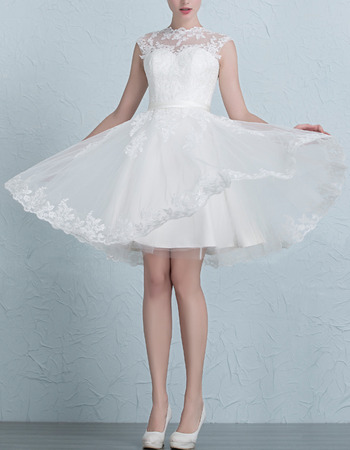 Simple A-Line Crew Neck Short Appliques Tulle Wedding Dresses with Back Cutout