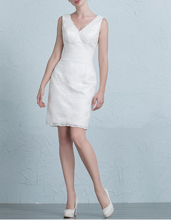 Simple Column/ Sheath V-Neck Lace Short Petite Wedding Dresses/ Inexpensive Reception Bride Gowns with Pleated Waist