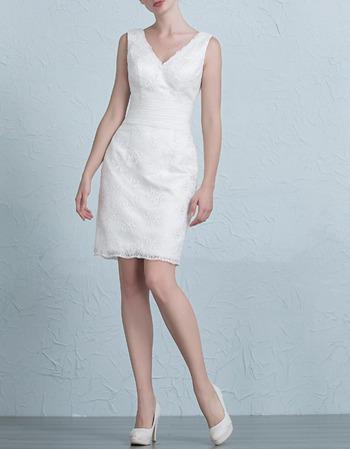 Simple Column/ Sheath V-Neck Short Lace Wedding Dresses with Pleated Waist