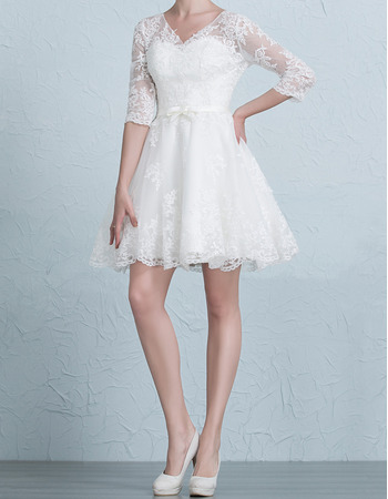 Elegant V-Neck Short Appliques Tulle Wedding Dresses with 3/4 Long Sleeves