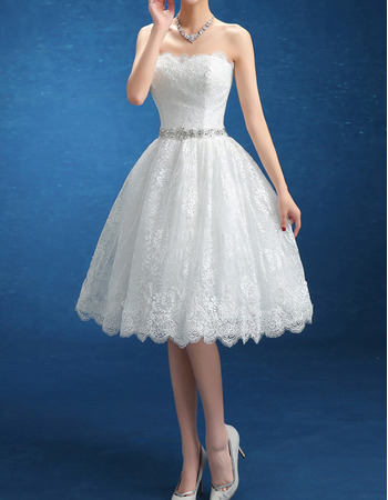 Perfect Ball Gown Strapless Knee Length Floral Lace Wedding Dresses with Crystal Beading Waist