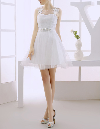 Lovely A-Line Sleeveless Short Lace Tulle Wedding Dresses with Crystal Detailing/ Discount Illusion Neckline Bride Gowns