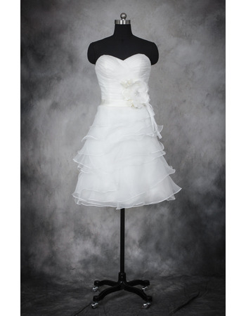 Lovely Sweetheart Short Organza Wedding Dresses with Ruched Bodice and Layered Skirt