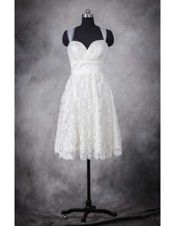 Simple Sweetheart Pleated Lace Reception Wedding Dresses