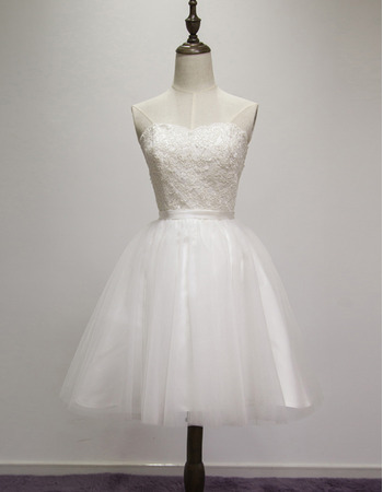 Simple Ball Gown Sweetheart Short Wedding Dresses with Tulle Skirt and Lace Appliques
