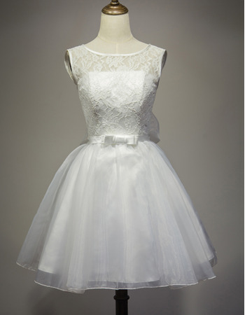 Simple Illusion Neckline Short Lace Wedding Dresses with Organza Skirt and Big Bowknot
