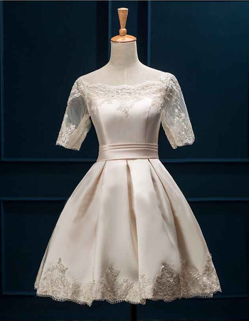 Tailored Appliques Off-the-shoulder Satin Pleated Wedding Dress with Half Tulle Sleeves