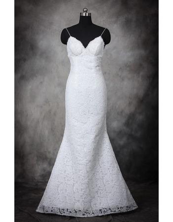 Stylish Sheath Spaghetti Straps Lace Backless Wedding Dresses