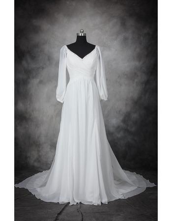 Discount Beaded V-Neck Full Length Chiffon Wedding Dresses with Long ...