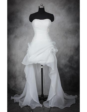 Romantic Beaded Strapless High-Low Hem Organza Wedding Dresses with Asymmetrical Pick-up Skrit