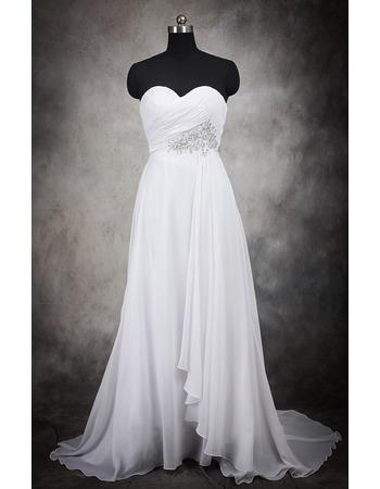 Elegant Empire Sweetheart Long Chiffon Wedding Dresses/ Modest Beaded Waist Bride Gowns with Diagonal Pleat