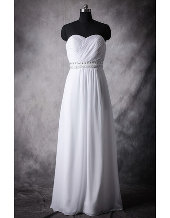 Beautiful Empire Sweetheart Full Length Pleated Chiffon Wedding Dress with Beading Crystal Sash