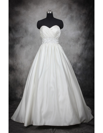 Elegant Ball Gown Sweetheart Court Train Satin Wedding Dresses with Crystal Beaded Waist