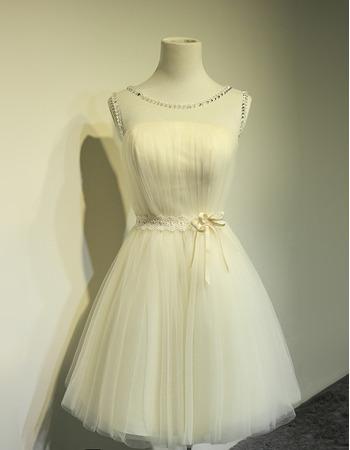 Pretty A-Line Beaded Illusion Neckline Short Tulle Wedding Dresses