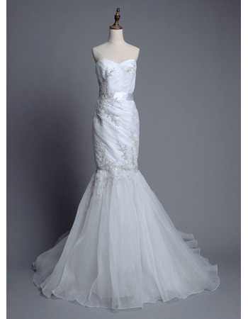 Glamorous Mermaid Sweetheart Court Train Ruched Organza Wedding Dresses/ Feminine Appliques Beaded Pleated Bride Gowns