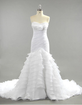 Dramatic Sweetheart Organza Wedding Dresses with Mermaid Layered Skirt and Ruched Chiffon Bodice