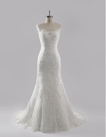 Elegant Appliques Illusion Neckline Tulle Wedding Dresses with Keyhole Back
