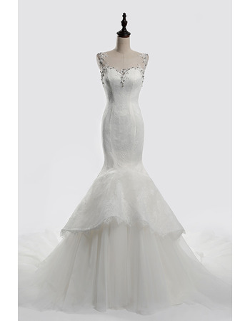 Feminine Crystal Beading Neckline Lace Over Tulle Wedding Dresses with Layered Hi-low Skirt