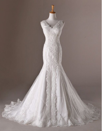 Elegance V-Neck Lace Appliques Wedding Dresses with Trumpet Skirt