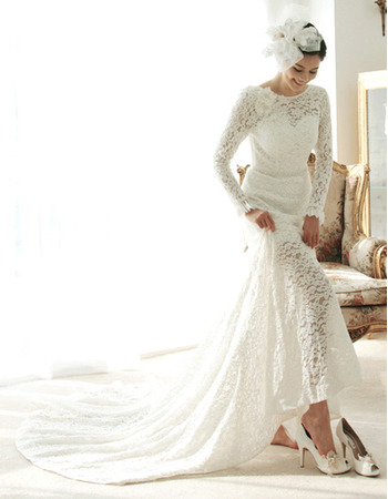 Stylish Court Train Lace Wedding Dresses with Long Sleeves/ Stunning Illusion Neckline Bride Gowns for Summer