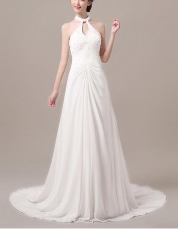 Stylish Sheath Beaded Halter Neck Sleeveless Long Train Chiffon Wedding Dresses/ Sexy Open Back Pleated Bride Gowns