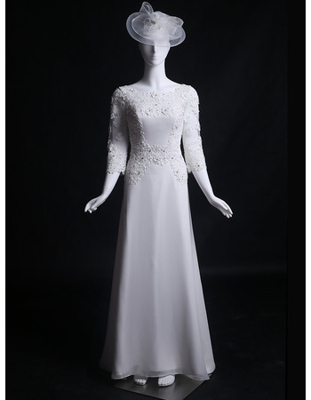 Graceful Beaded Appliques Court Train Chiffon Wedding Dresses with 3/4 Long Sleeves