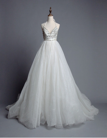 Breathtaking Halter Sweetheart Chapel Train Tull Wedding Dresses/ Sexy Backless Bride Gowns with Crystal Embellished Bust