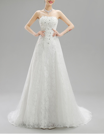 Vintage A-Line Strapless Lace Wedding Dresses with Crystal Beaded Bodice